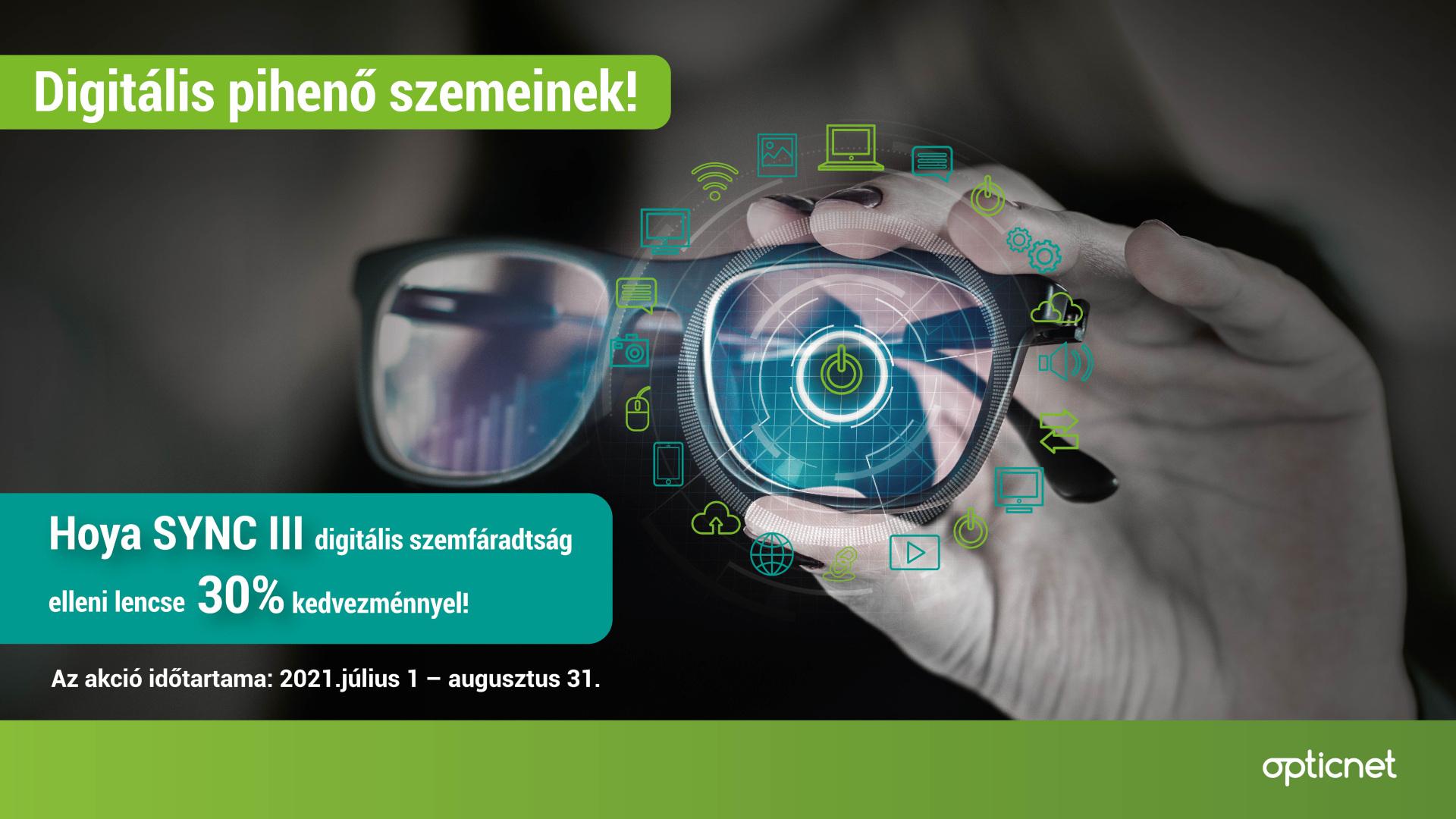 Hoya SYNC III digitális szemfáradtság elleni lencse 30% kedvezménnyel